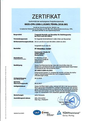 EXC 3 Zertifikat